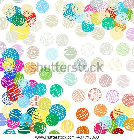 polka dots sketch pattern colorful pattern - stock vector
