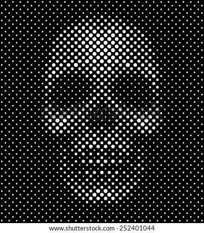 Polka dots skull - stock vector