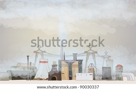 Polluted air (industrial view) - stock vector