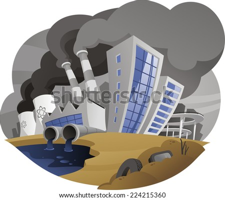 Polluting city contaminating the environment, Polluting city with fume chimney factory plant drain west pipe. - stock vector