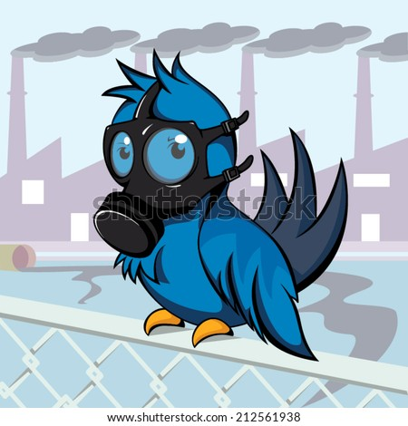 Pollution, bird gas mask vector illustration. - stock vector