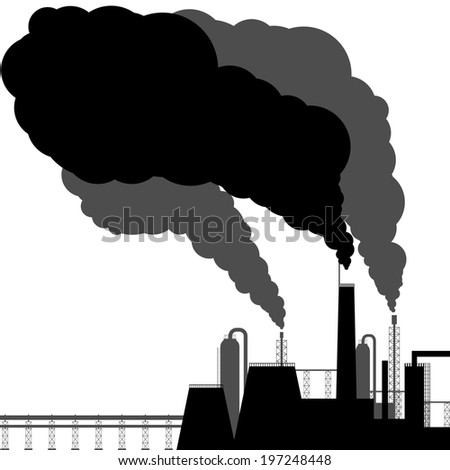 Pollution. Black silhouette on a white background - stock vector
