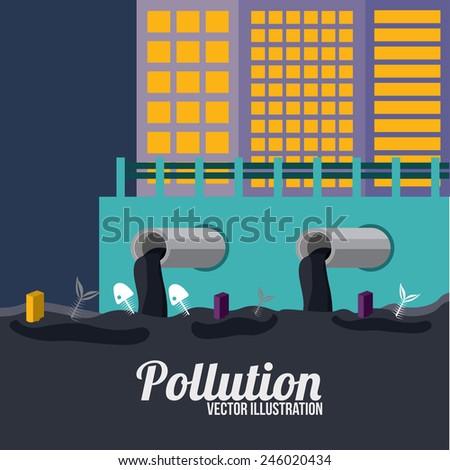 Pollution design over blue background, vector illustration. - stock vector