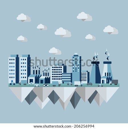 Pollution environment cityscape concept illustration in flat style design elements. EPS10 vector file organized in layers for easy editing. - stock vector