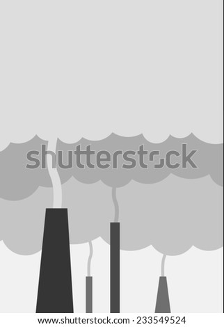 Pollution from a factory - stock vector