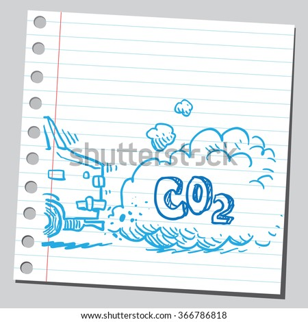 Pollution from car gas - stock vector
