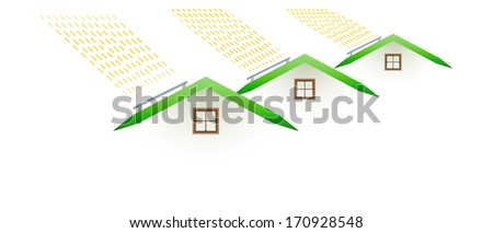 pollution - houses and smoking roofs on white background - stock vector
