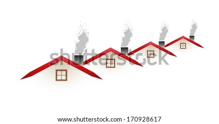 pollution - houses and smoking roofs on white background
