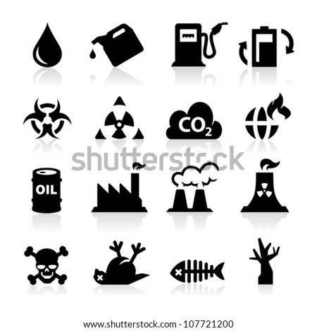 Pollution icons - stock vector