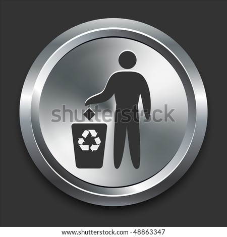 Pollution Symbol Icon on Metal Internet Button Original Vector Illustration