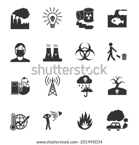 Pollution toxic environment damage and contamination isolated vector illustration - stock vector