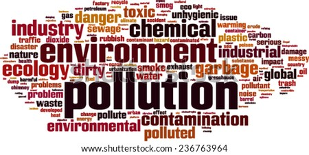 Pollution word cloud concept. Vector illustration - stock vector