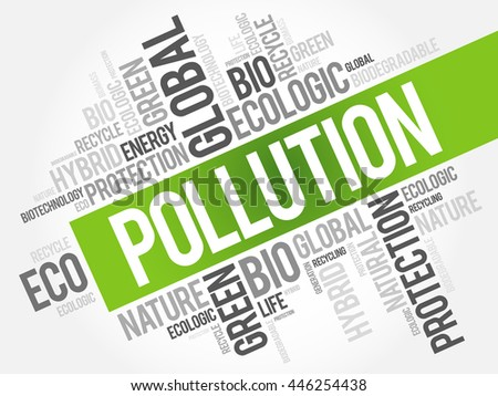 Pollution word cloud, conceptual green ecology background - stock vector