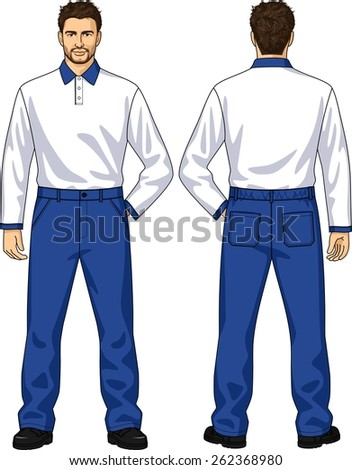 Polo-neck and trousers with pockets for the man - stock vector