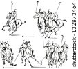 Polo players: Brush drawing-based vector illustrations showing polo players. Created in Freehand, rectified in Illustrator. Each horse with its rider is a compound path. Grouped in four compositions. - stock photo