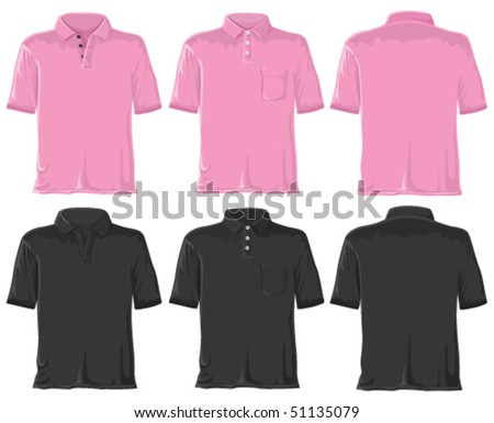 Polo shirt set. Without gradients, great for printing. Pink & black. Vector. - stock vector