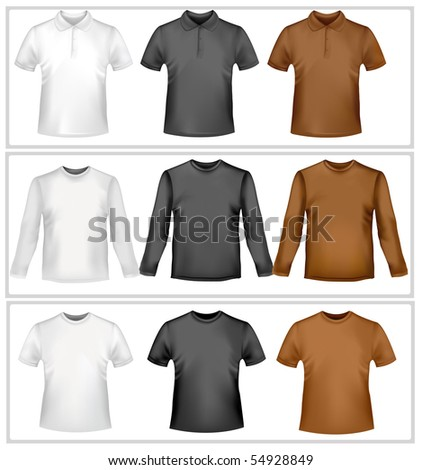 Polo shirts and t-shirts. Photo-realistic vector illustration. - stock vector