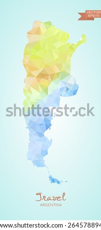 Poly map of Argentina isolated on background. Vector version. - stock vector
