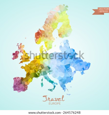 Poly map of Spain isolated on background. Vector version. - stock vector