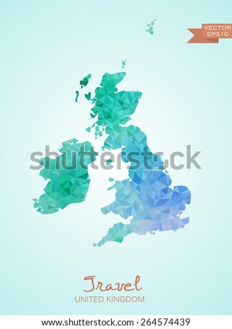 Poly Map United Kingdom Great Britain Stock Vector - Britain on a map