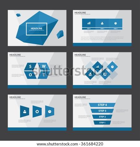 Polygon Blue presentation templates Infographic elements flat design set for brochure flyer leaflet marketing advertising - stock vector