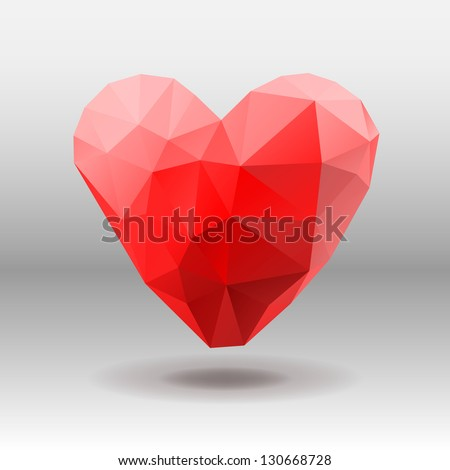 Polygon Heart, vector illustration.