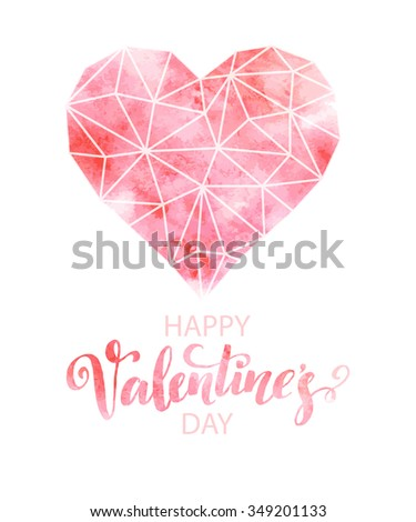 Polygon heart with watercolor texture. Vector illustration EPS10