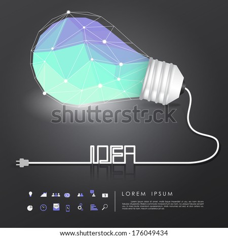 polygon idea light bulb on black background with business icon and idea wire vector - stock vector