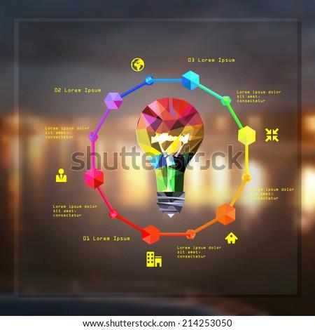 polygon idea light bulb vector illustration - stock vector