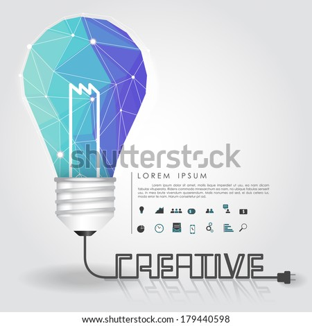polygon idea light bulb with business icon and creative line vector - stock vector