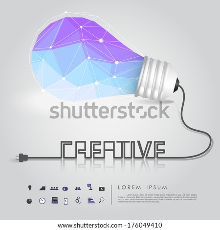polygon idea light bulb with business icon and creative wire vector - stock vector