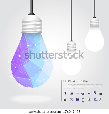 polygon idea light bulb with business icon vector - stock vector