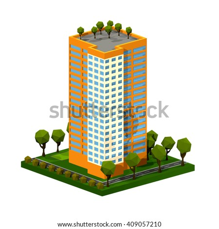 Polygon isometric multi-storey building. Residential house on a white background. Isometric style. Vector illustration of an apartment building with trees, shrubs, highway. Icon isometric house.  - stock vector
