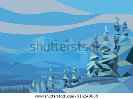 polygon landscape. vector illustration. snow mountains and trees