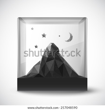 polygon mountain in a glass holder - vector - stock vector