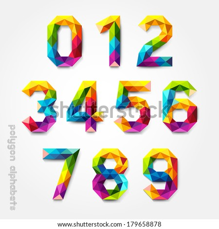 Polygon number alphabet colorful font style. Vector illustration. - stock vector
