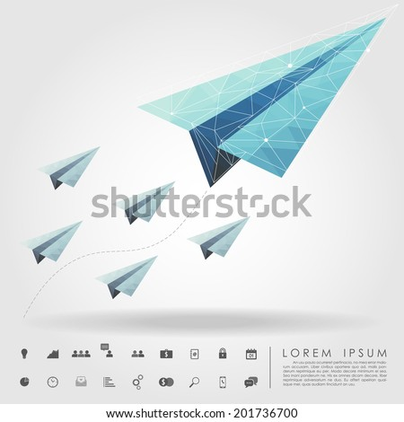 polygon paper plane on leader concept with business icon vector - stock vector