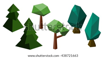 Polygon Trees Set Fir Tree Oak And Maple Natural Vector Clipart