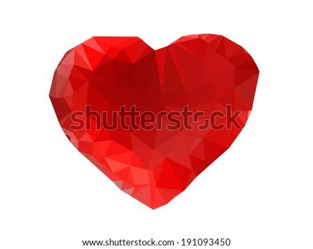 Polygon vector heart - stock vector