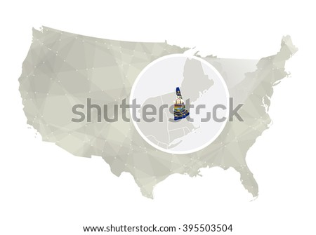 Usa Map Magnified New Hampshire State Stock Vector - New hampshire us map