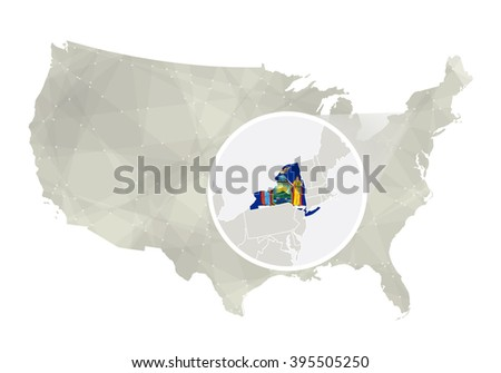 Polygonal abstract USA map with magnified New York state. New York state map and flag. US and New York vector map. Vector Illustration. - stock vector