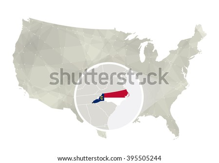 Polygonal abstract USA map with magnified North Carolina state. North Carolina state map and flag. US and North Carolina vector map. Vector Illustration.