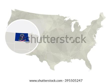 North Dakota State Flag Stock Images RoyaltyFree Images - Us map north dakota