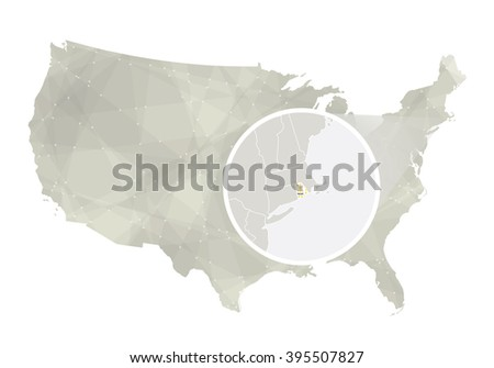 Polygonal Abstract Usa Map With Magnified Rhode Island State Rhode Island State Map And Flag