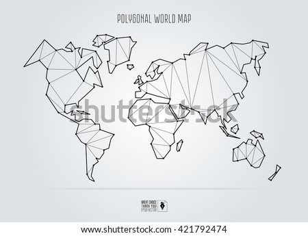 Polygonal abstract world map. Vector illustration. - stock vector
