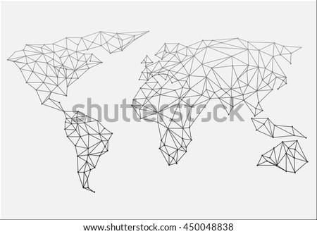 Triangle polygonal style world map on vectores en stock 343932281 polygonal abstract world map vector illustration gumiabroncs Image collections