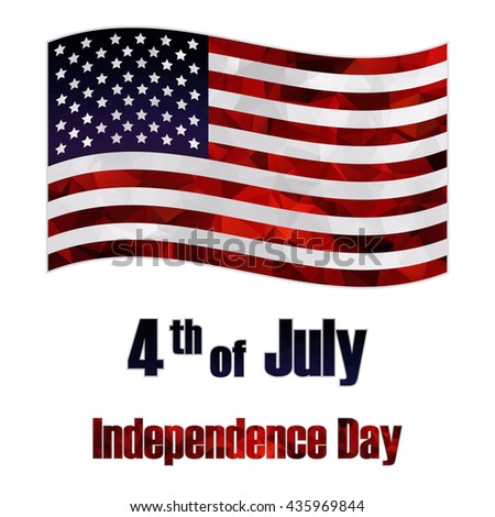 Polygonal American flag on white background. Independence day. - stock vector