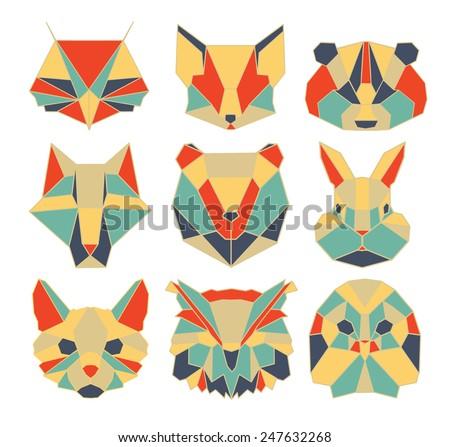 polygonal animal, wildlife, bird, bear, raccoon, vector, owl, graphic, wolf, cat, rabbit, dog, fox, cartoon - stock vector