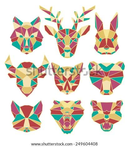 polygonal animal, wildlife,cartoon, wolf, deer, hare, rabbit, cat, fox, bear, cat, tiger, predator - stock vector