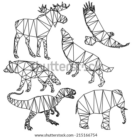 Polygonal animals wildlife, deer, eagle, elephant, wolf, dog, origami style. - stock vector